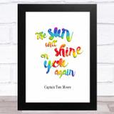 Captain Tom The Sun Will Shine Again Rainbow Statement Wall Art Print