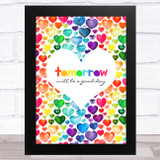 Captain Tom Tomorrow Will Be Rainbow Heart Scattered Statement Wall Art Print