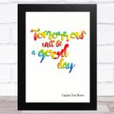 Captain Tom Tomorrow Will Be Brush Quote Rainbow Statement Wall Art Print