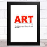 Art Modern Dictionary Definition Statement Wall Art Print