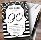Vintage Damask Black & White 90th Customised Birthday Party Invitations