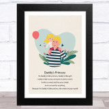 Daddy's Princess Design 2 Dad Father's Day Gift Wall Art Print