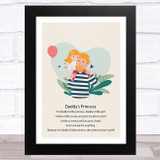 Daddy's Princess Design 3 Dad Father's Day Gift Wall Art Print