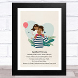 Daddy's Princess Design 7 Dad Father's Day Gift Wall Art Print