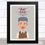 Best Dad In The World Design 17 Dad Father's Day Gift Wall Art Print