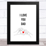 Heart Shape Hands Line Art Dad Father's Day Gift Wall Art Print
