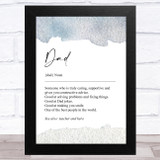 Noun Dad Word Dictionary Dad Father's Day Gift Wall Art Print