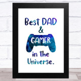Best Gamer Dad In The Universe Dad Father's Day Gift Wall Art Print