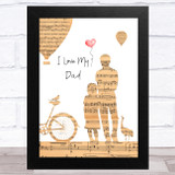 Bicycle And Hot Air Balloon Dad Music Paper Collage Dad Father's Day Gift Print