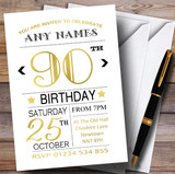 White Black & Gold 90th Customised Birthday Party Invitations