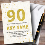 White Gold Fleck 90th Customised Birthday Party Invitations