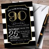 Black & White Stripy Gold 90th Customised Birthday Party Invitations
