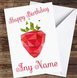 Strawberry Polygon Simple Personalised Birthday Card