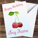 Cherry Polygon Simple Personalised Birthday Card