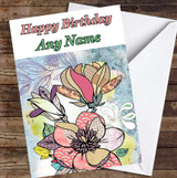 Abstract Vintage Flowers Magnolias Colourful Leaves Personalised Birthday Card