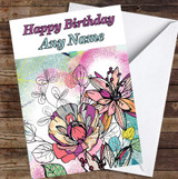 Abstract Vintage Flowers Bright Colourful Leaves Personalised Birthday Card