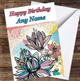 Abstract Vintage Flowers Lotus Colourful Leaves Personalised Birthday Card