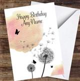 Dandelion Seeds Watercolour Peach Pink Personalised Birthday Card