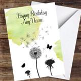 Dandelion Seeds Watercolour Green Personalised Birthday Card