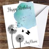 Dandelion Seeds Watercolour Blue Personalised Birthday Card