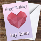 Heart Polygon Simple Purple To Pink Fade Personalised Birthday Card