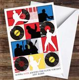 Rock Around The Clock Pop Art Repeat Vinyl Personalised Birthday Card
