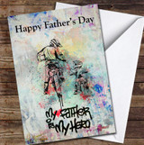 My Father Is My Hero Bike Graffiti Personalised Father's Day Greetings Card