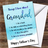 Blue Things I Love About Grandad Personalised Father's Day Greetings Card