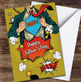 Superhero Dad Yellow Light Skin Personalised Father's Day Greetings Card