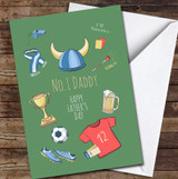 Green Love Football No.1 Daddy Personalised Father's Day Greetings Card