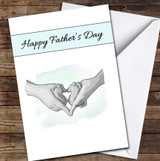 Baby Feet In Heart Dad's Hands Personalised Father's Day Greetings Card