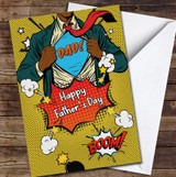 Superhero Dad Yellow Dark Skin Personalised Father's Day Greetings Card