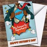 Dark Skin Superhero Dad Comic Personalised Father's Day Greetings Card