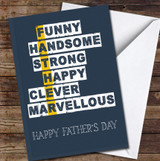 Father Descriptive Word Art Personalised Father's Day Greetings Card