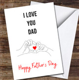 Heart Shape Hands Line Art Personalised Father's Day Greetings Card