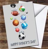 Dad Lots Of Balls Sport Personalised Father's Day Greetings Card
