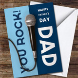 Microphone You Rock Dad Personalised Father's Day Greetings Card