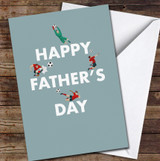 Green Footballers Text Personalised Father's Day Greetings Card