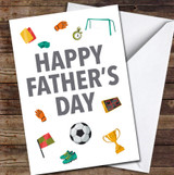 Football Fan Grey Personalised Father's Day Greetings Card