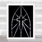 Lavender Floral Crucifix Arch Gothic Wall Art Print