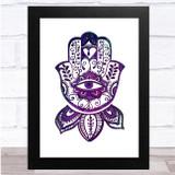 Boho Deep Purple Watercolour Hamsa Wall Art Print