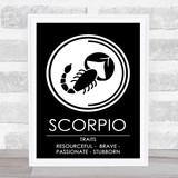 Zodiac Star Sign Black & White Traits Scorpio Wall Art Print