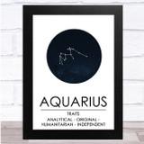 Zodiac Star Sign Constellation Aquarius Wall Art Print