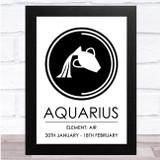 Zodiac Star Sign White & Black Element Aquarius Wall Art Print