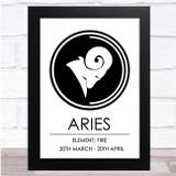 Zodiac Star Sign White & Black Element Aries Wall Art Print