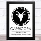Zodiac Star Sign White & Black Element Capricorn Wall Art Print