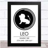 Zodiac Star Sign White & Black Element Leo Wall Art Print
