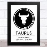Zodiac Star Sign White & Black Element Taurus Wall Art Print