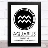Zodiac Star Sign White & Black Symbol Aquarius Wall Art Print
