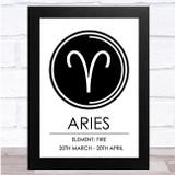 Zodiac Star Sign White & Black Symbol Aries Wall Art Print